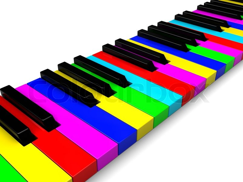 800x600 Abstract 3d Illustration Of Colorful Piano Keyboard Stock Photo