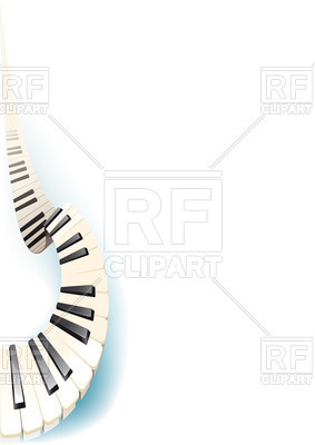 283x400 Gracefully Curved Piano Keys Royalty Free Vector Clip Art Image