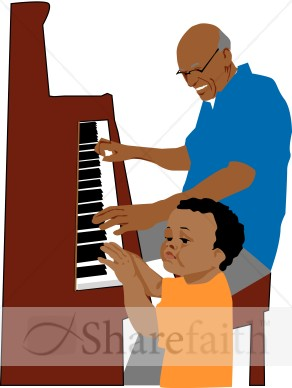 292x388 Grandchild Playing Piano Christian Senior Clipart