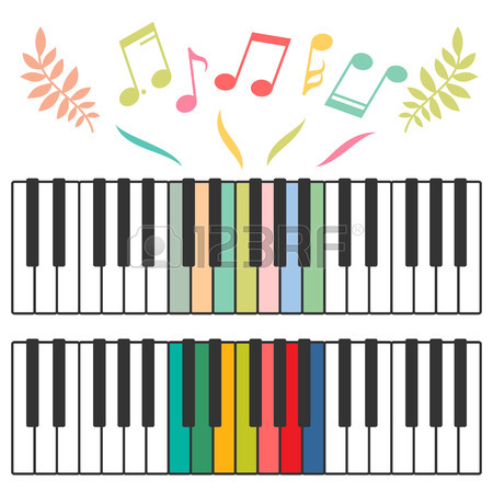 450x450 Black And White Piano Keys And Music Notes Vector Illustration