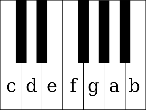 600x451 Piano Keys With Notes Clip Art