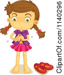 128x150 Girl Changing Clothes Clipart