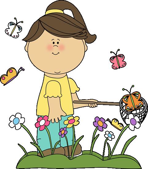 482x550 Spring Clip Art Girl Catching Butterflies Clip Art Image