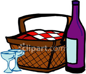 300x258 Basket Lunch With A Bottle Of Wine And Glasses