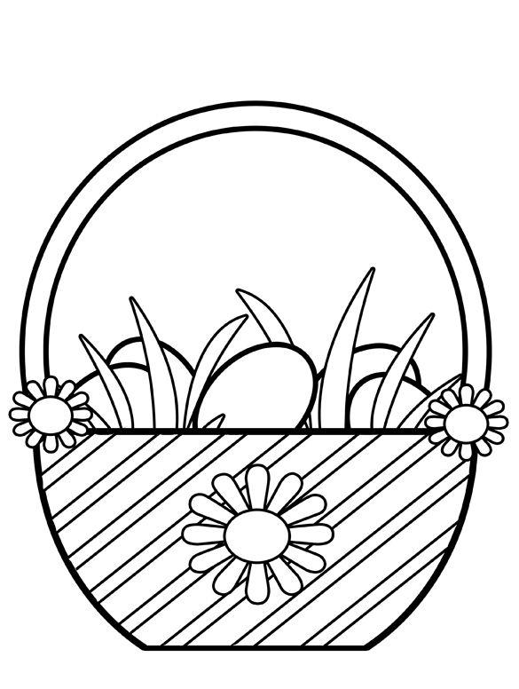 585x776 Clipart Easter Egg Basket Black And White