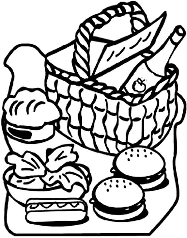 600x763 Picnic Basket Clipart Coloring