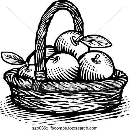 450x452 Stock Illustration Of Basket Of Apples Bw Szo0365