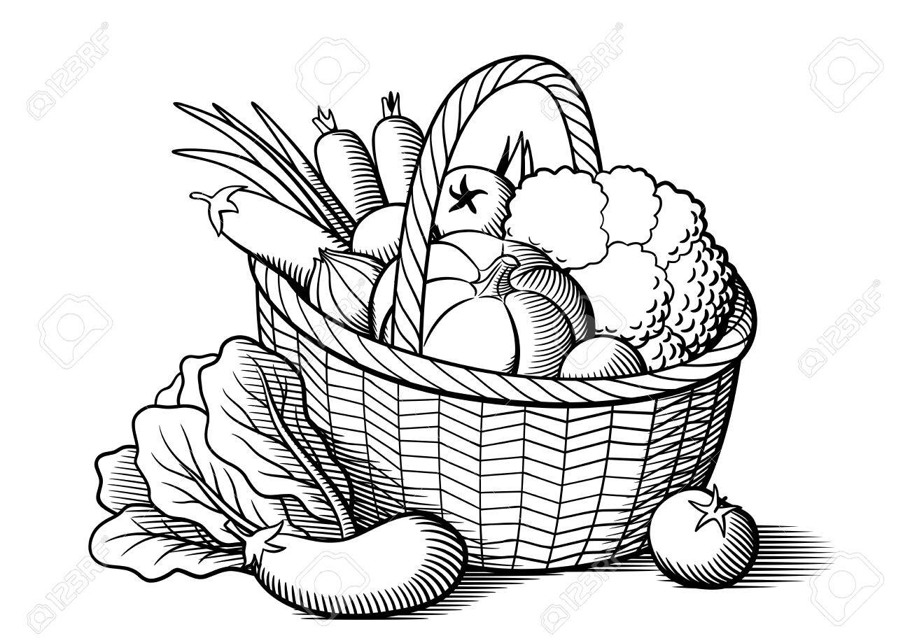 1300x919 Vegetables In Wicker Basket. Stylized Black And White Vector
