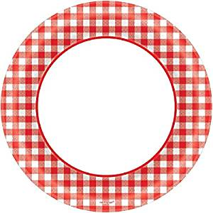 300x300 Disposable Classic Picnic Red Gingham Border Round