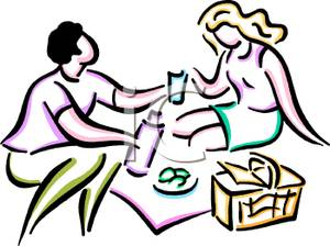 300x224 Man And A Woman On A Picnic Clipart Picture