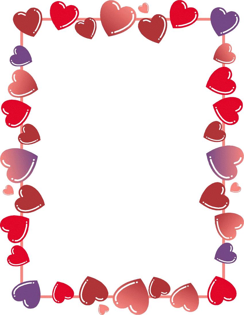850x1100 Heart Line Border Clipart