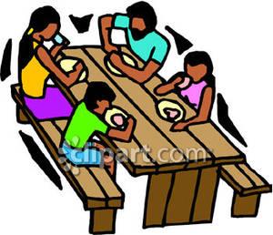 300x258 Family Eating Dinner Clipart