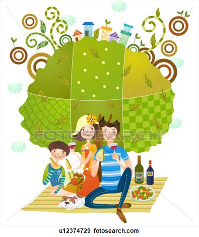 395x470 Picnic Clipart Family Drawing