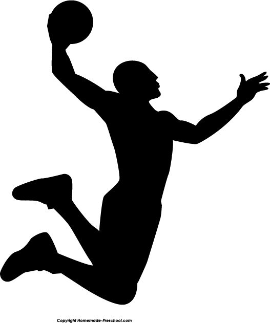 527x631 Silhouette Slam Dunk And Basketball On Clip Art