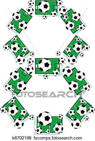 319x470 Clip Art Of Number 8 Eight From Soccer Balls And Football Fields