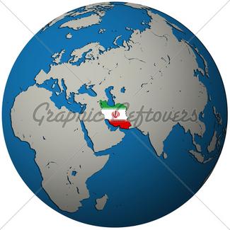 325x325 Iran Flag On Globe Map Gl Stock Images