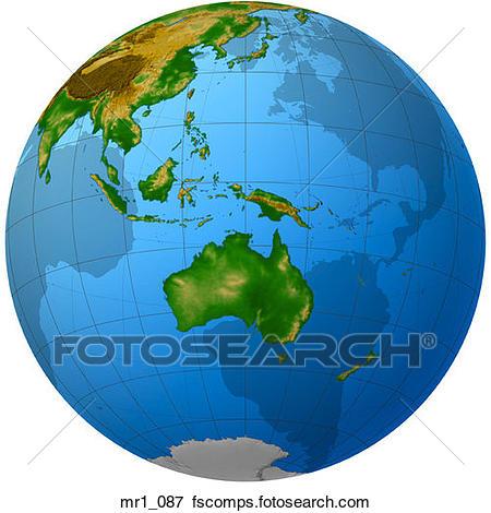 450x470 Picture Of Globe, Relief, Map, Indonesia, Australia Mr1 087