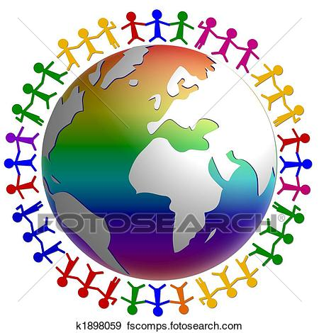 450x470 Stock Illustration Of Globe Surrounded By People K1898059