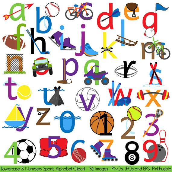 570x570 Sports Alphabet Clipart Clip Art, Sports Letters Font, Lowercase