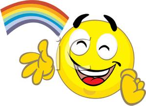 300x217 Free Clipart Image A Smiley Face Under A Rainbow
