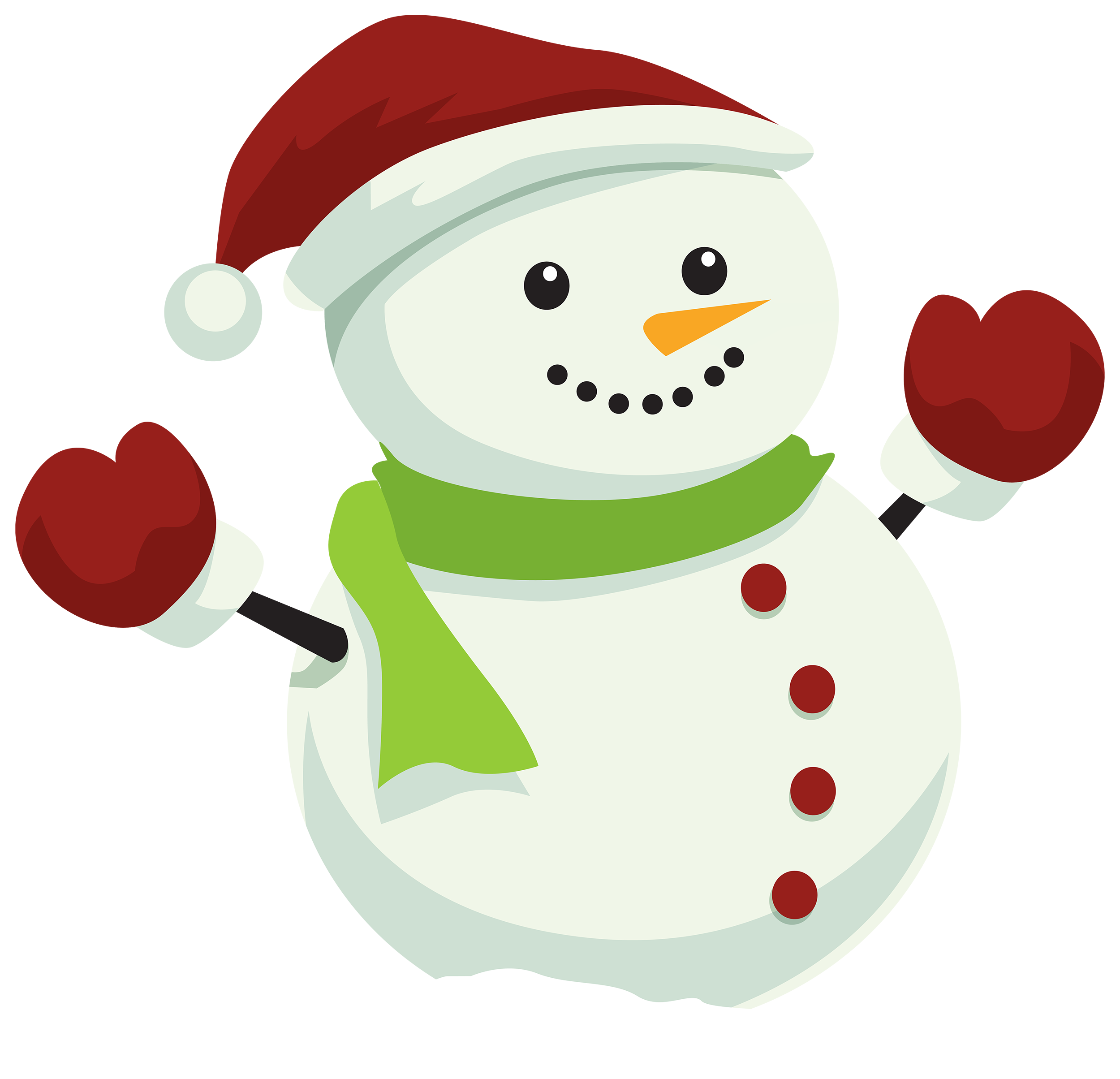 2500x2408 Snowman With Christmas Hat Png Clipart