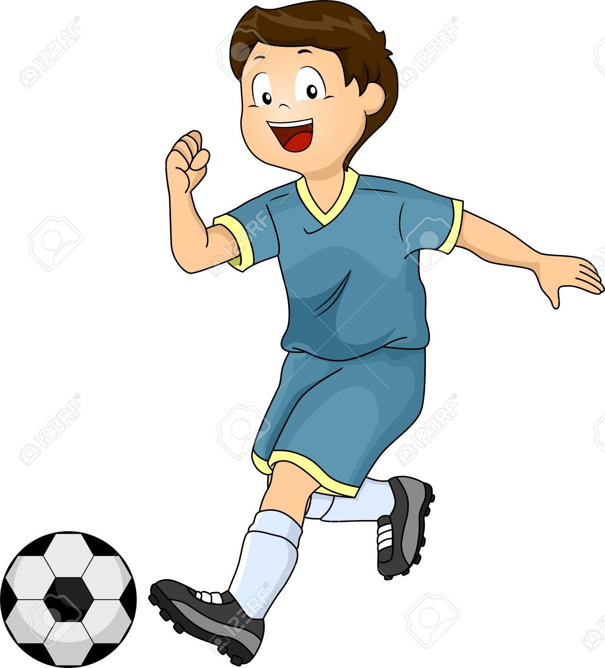 1178x1300 Illustration Of A Little Boy Kicking A Soccer Ball Stock Photo