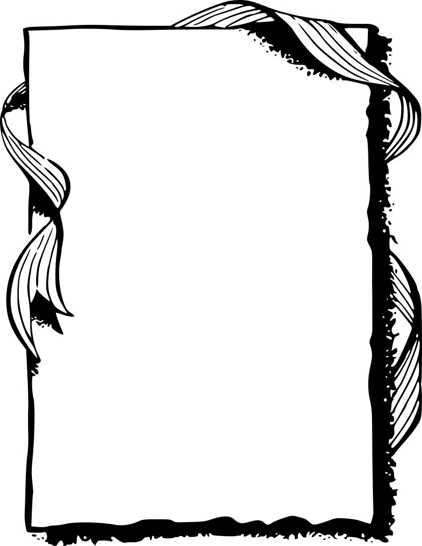 850x1100 Frame Border Clip Art Black And White Clipart Image