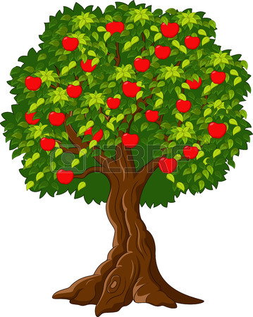 359x450 Cartoon Green Apple Tree Full Of Red Apples I Royalty Free