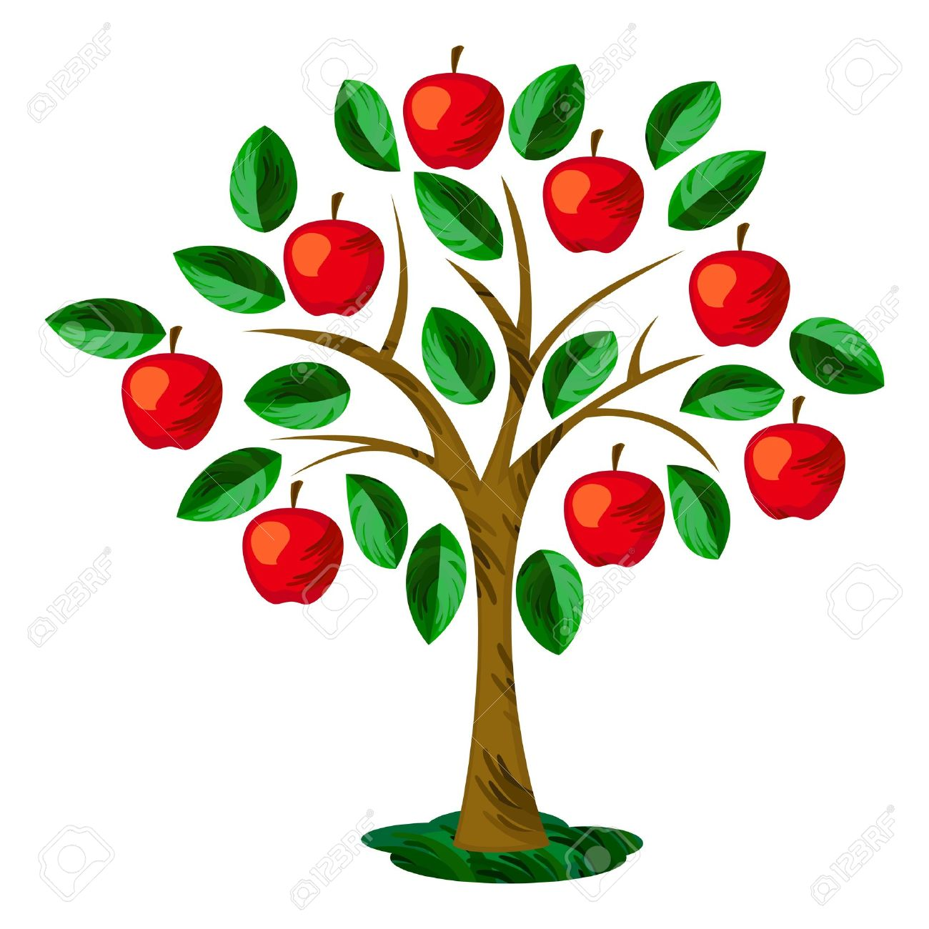1300x1300 Isolated Apple Tree With Leaves And Fruits Royalty Free Cliparts