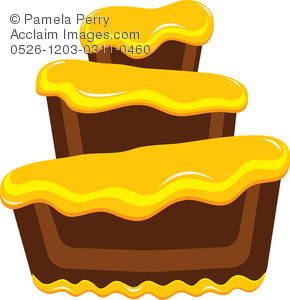 290x300 Clip Art Illustration Of A Chocolate Bakery Cake With Yellow Frosting