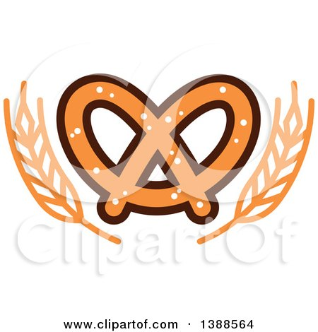 450x470 Clipart Of A Bakery Design With Wheat And A Soft Pretzel