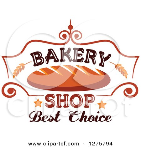 450x470 Clipart Of A Bakery Shop Design With Bread Wheat And Stars 3