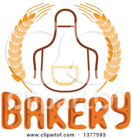 450x470 Clipart Of A Bib Or Apron In A Wheat Wreath Over Bakery Text