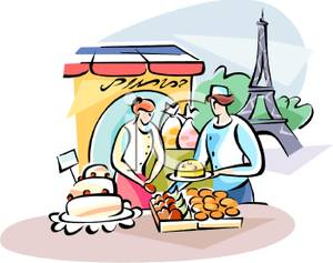 300x237 Colorful Cartoon Of Women Shopping At An Outdoor French Bakery