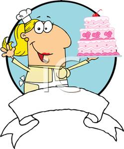 249x300 Colorful Cartoon Of A Bakery Chef Showing Off A Birthday Cake