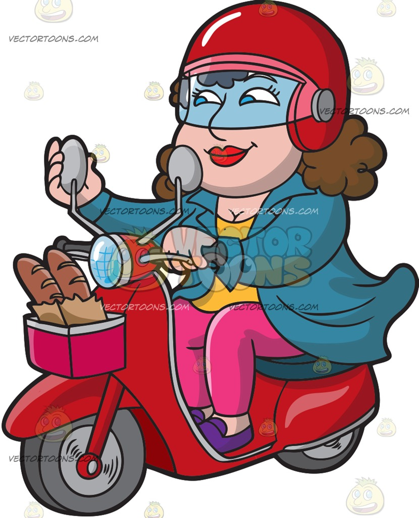 830x1024 A Woman Riding A Scooter From A Bakery Cartoon Clipart