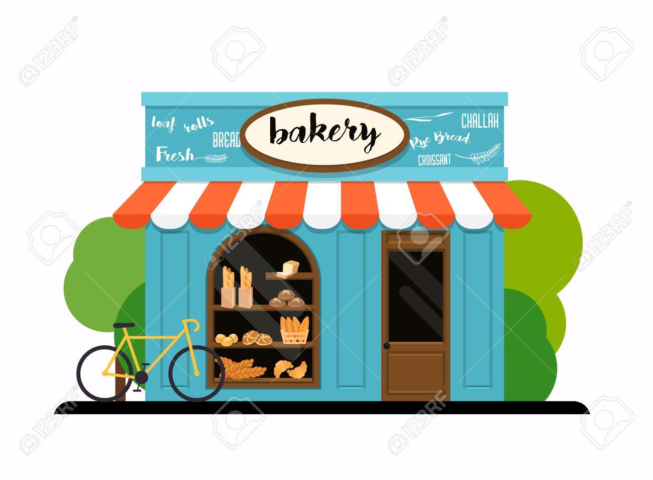1300x955 The Facade Of A Bakery Shop. Flat Design Modern Vector