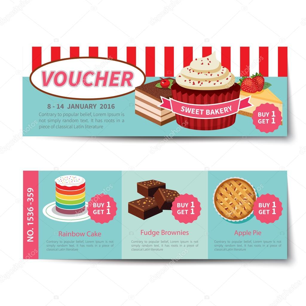 1024x1024 Bakery Voucher Discount Template Design Stock Vector Kaisorn4