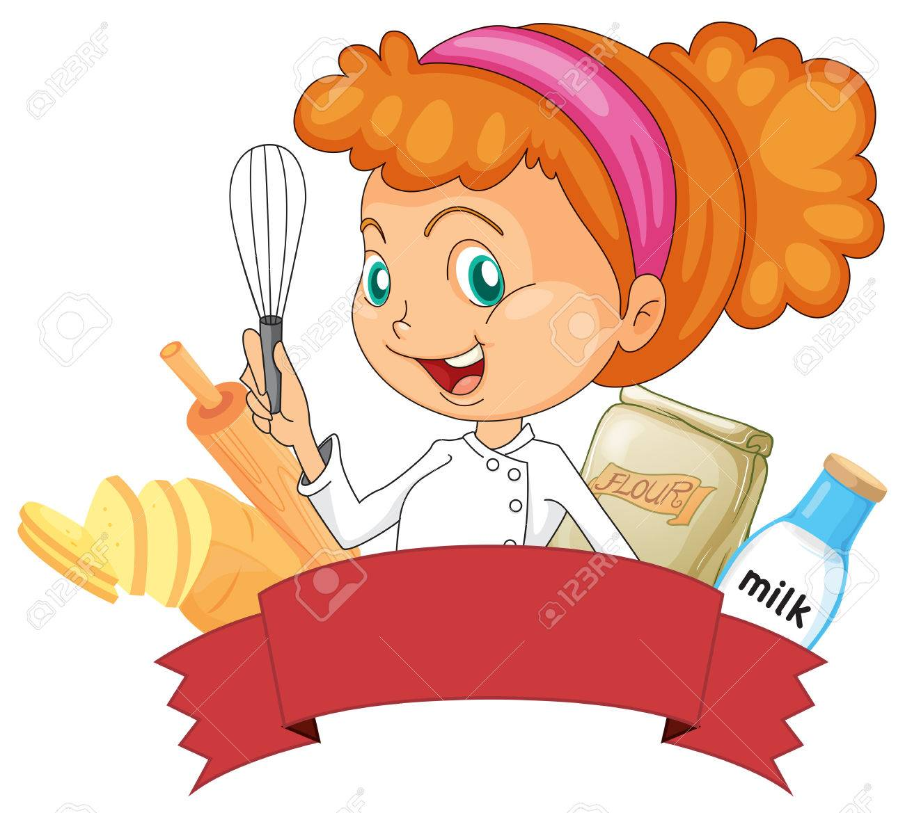 1300x1169 Badge Of Bakery With A Female Baker Holding A Whisk Royalty Free