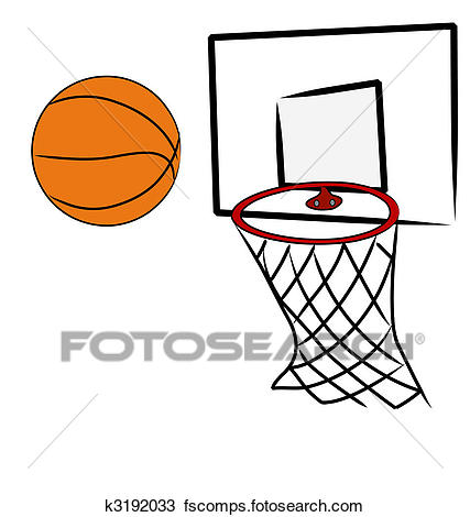 427x470 Drawing Of Basketball Being Shot Into Hoop Of Basketball Net