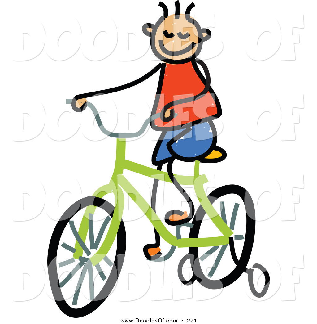 1024x1044 Vector Clipart Of A Childs Sketch Of A Happy Boy Riding A Bike By