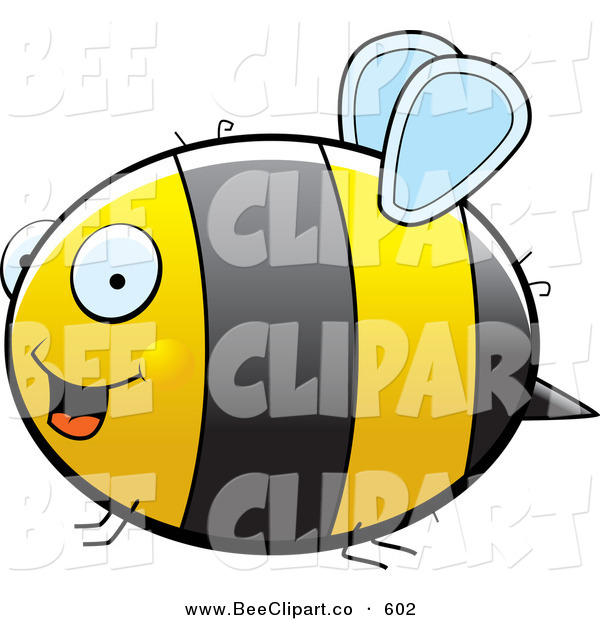 600x620 Cartoon Vector Clip Art Of A Large Striped Chubby Bumble Bee