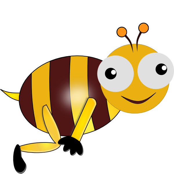 600x601 Smiling Bumblebee Clipart