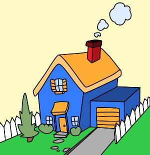 300x310 127 Best Cartoon Houses Images Painting, Draw