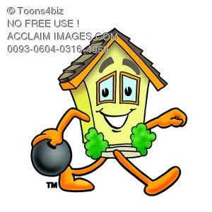 300x300 Clipart Image Of A Cartoon House Character Bowling