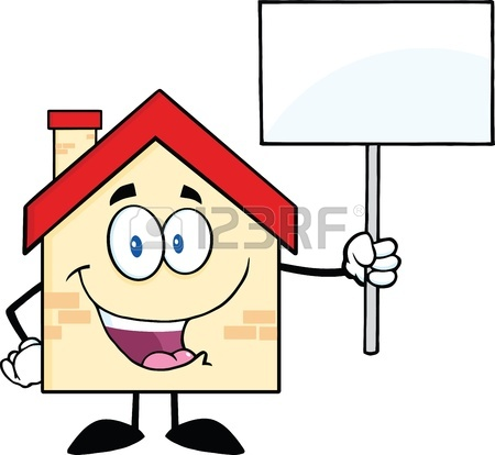 450x414 House Cartoon Mascot Character Worker With Tool Box And Holding