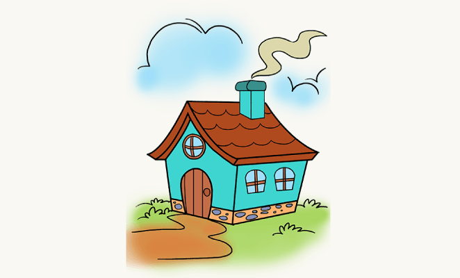 662x400 How To Draw A Cartoon House In A Few Easy Steps Easy Drawing Guides