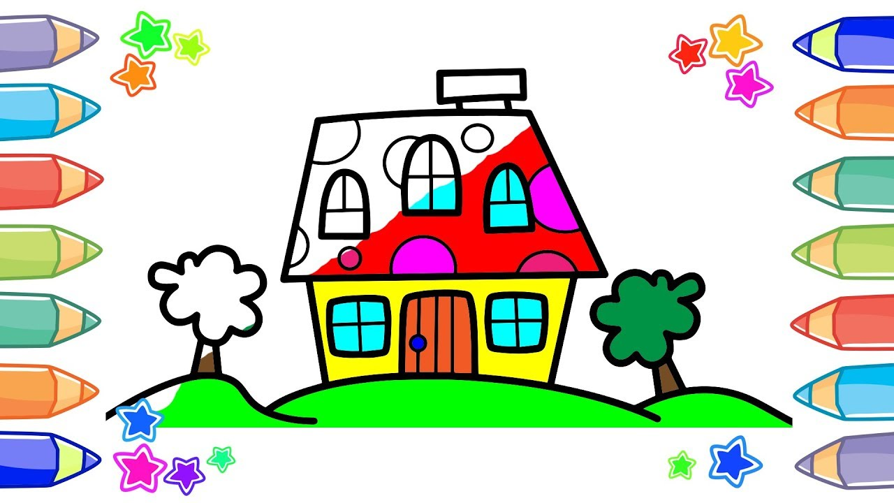 1280x720 How To Draw And Paint Little Cartoon House Coloring Book