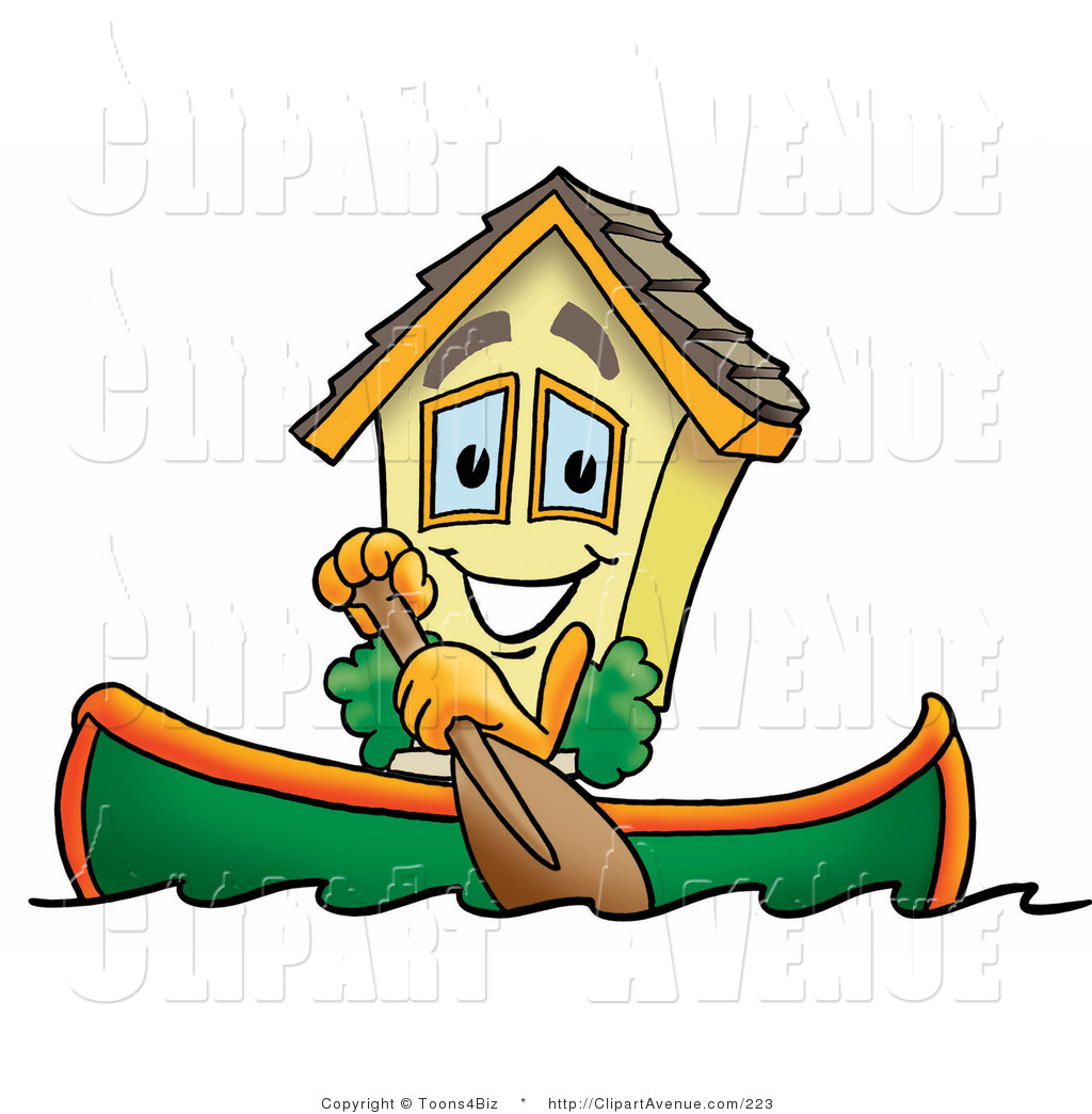 1024x1044venue Clipart Of Yellow House Mascot Cartoon Character Rowing