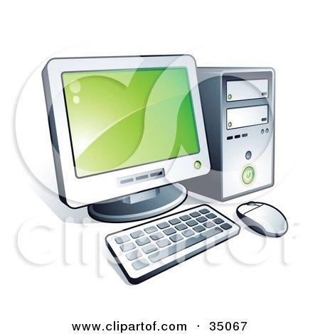 450x470 Clipart Illustration Of A New Desktop Computer With Green Desktop